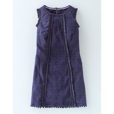 Boden Pretty Broderie Dress ($118) ❤ liked on Polyvore featuring dresses, navy, boden dresses, navy shift dress, fringe dress, boden and navy dress