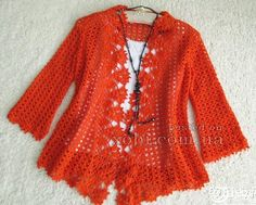 """Women's crocheted cardigan with charts. Click on """"read more"""" at site"""
