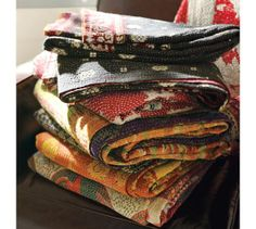 Kantha Throws.....I want a million of these.
