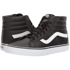 Vans SK8-Hi Reissue ((Classic Tumble) Black/True White) Skate Shoes ($70) ❤ liked on Polyvore featuring shoes, sneakers, high top skate shoes, black leather sneakers, white hi top sneakers, black high tops and high-top sneakers