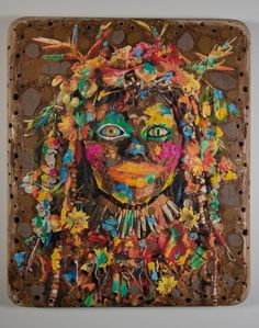 """Ashley Bickerton """"Brown head I"""", 2012 Oil acrylic coral and found objects on digital print on plywood. 210.8 x 177.8 x 17.8 cm. © The Alpina Gstaad Private Art Collection"""