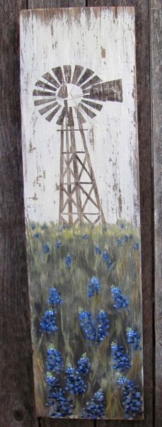 SOLD!  Rustic Texas Windmill & Bluebonnets Sign by HeritageWorkshopCo