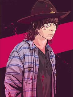 Carl Grimes from the 7th season of The Walking Dead.