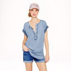 Silky chambray tunic - J.Crew. My go to outfit this Summer. Getting the hat too of course.