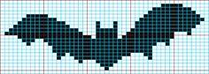 bat knitting chart can be used for beading pattern Cross Stitch Bird, Cross Stitch Animals, Cross Stitching, Cross Stitch Embroidery, Halloween Knitting Patterns, Halloween Cross Stitches, Halloween Crochet, Crochet Cross, Filet Crochet