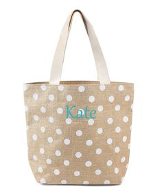 Look at this White Polka Dot Jute Personalized Tote Bag on #zulily today!