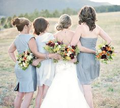mix match of grey dresses for your bridesmaids