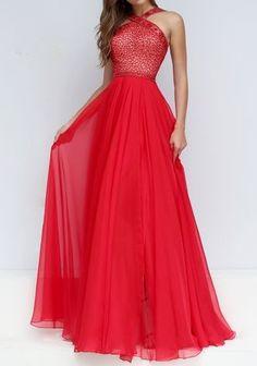New Fashion Long Prom Dress,Chiffon Prom Dress,Formal Dress,beaded Evening Dress,A Line Party Dress,Red Prom Dresses