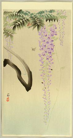Ohara Koson: Wisteria and Bee - Ca. 1930s