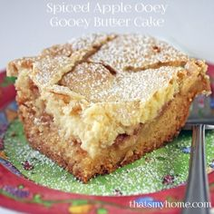 Spiced Apple Ooey Gooey Butter Cake - has a layer of yellow cake, topped with some spicy apples and an ooey gooey cream cheese layer. Perfect dessert for fall. » Recipes, Food and Cooking