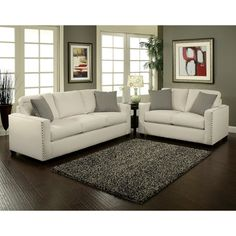 modern white sofa buttons silver contemporary living room