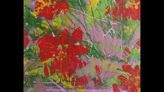 111_Red Flower acrylic painting & monotype / Fun and easy art work (#199B) - YouTube Easy Art, Simple Art, Using Acrylic Paint, Red Flowers, Printmaking, Art Work, Paintings, Youtube, Fun