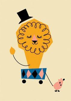 circus Lion paper craft Thought it was cute, retro. Illustration Inspiration, Children's Book Illustration, Gravure Illustration, Estilo Retro, Circus Theme, The Draw, Illustrators, Print Patterns, Design Art