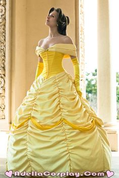 Belle cosplay Disney Beauty & the Beast Costume Gown Dress #timetravelcostumes @TimeTravelStyle