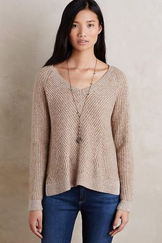 Cabled Cashmere V-Neck - I love the wide neck and the raglan seams, and the different directions that the knitted ribs run. anthropologie.com