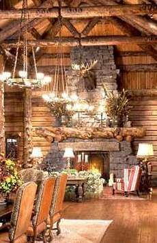 log home large fireplaces | The log home fireplaces pictured at right and below are part of an ex-