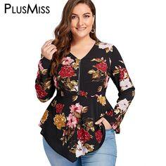 d04363b80e39 PlusMiss Plus Size 5XL Zipper Floral Flower Print Blouse Shirt Women Long  Sleeve Tunic Peplum Chiffon Tops Autumn Blusas 2018