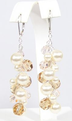 Champagne, Blush & Cream Chandelier wedding Earrings Color can be customized.