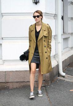 Trench coat and fuzz | Via sarastrand.no