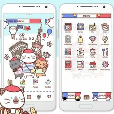 """Kitties in Paris"" 11/24 Bring these cute kitties in Paris to your smartphone! http://app.android.atm-plushome.com/app.php/app/themeDetail?material_id=1371&rf=pinterest #cute #wallpaper #love #kawaii #design #icon #girl #style #beautiful #plushome  #homescreen #widget #deco #cats"