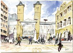 """2H - """"An Impression of Liverpool Street Station"""" by Professor Sir Colin Stansfield Smith for 10x10 Drawing the City London 2011"""