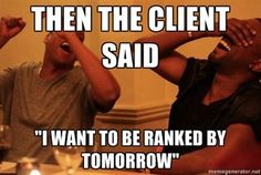 A list of funny SEO Memes. These SEO Memes make fun of both dodgy SEO agencies and the painful clients SEO companies deal with every day. Marketing Meme, Internet Marketing, Online Marketing, Digital Marketing, Inbound Marketing, Marketing Ideas, Media Marketing, Memes, Seo Tips