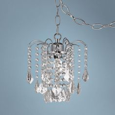 Mini swag plug in crystal chandelier antique