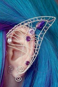 jewels fairy earrings fairy ear purple gems diamonds fantasy halloween costume elf elf ear cuff ears earrings ear jewel jewelry cute