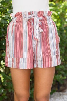 Into The Night Striped Shorts Red - The Pink Lily