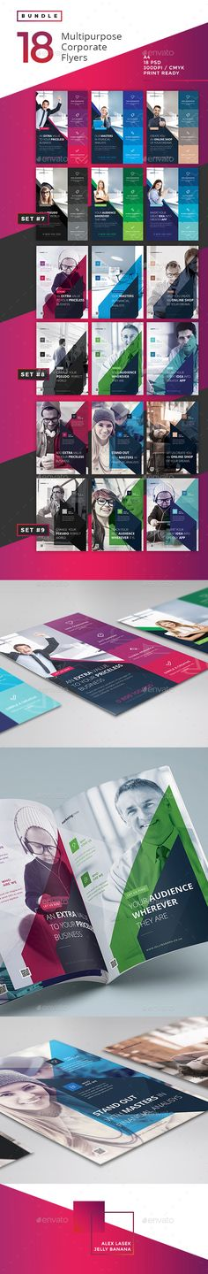 Buy Corporate Flyer Bundle 3 - by Alexlasek on GraphicRiver. The Corporate, Multipurpose Bundle 3 The Bundle is a premium bundle pack of 18 Photoshop PSD Corporate Flyer Template. Graphisches Design, Flyer Design, Book Design, Layout Design, Print Design, Graphic Design Brochure, Graphic Design Art, Graphic Design Inspiration, Magazine Ideas