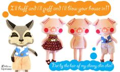 How cute!  Dolls And Daydreams : The Three Little Pigs & The Big Bad Wolf Sewing patterns sneak Peek!