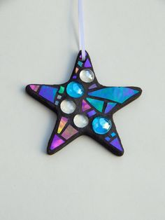 """Mosaic """"Everyday"""" Ornament, Star, Iridescent Glass + Glass Nuggets, Handmade Stained Glass Mosaic by GreenBananaMosaicCo #StainedGlassMosaic Mosaic Crafts, Mosaic Projects, Mosaic Art, Mosaic Glass, Mosaic Tiles, Stained Glass, Glass Art, Christmas Mosaics, Christmas Crafts"""