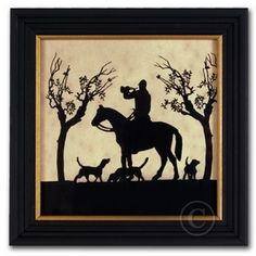 Calling the Hounds - Silhouette Equestrian Art Foxhunting - Foxhunting Decor at Horse and Hound Gallery