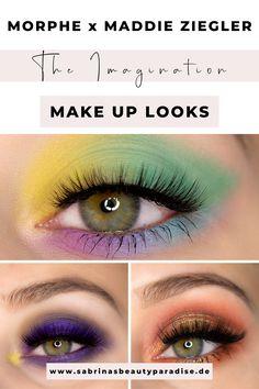 Morphe x Maddie Ziegler The Imagination Palette. 3 Augen Makeup Look Inspirationen mit der neuen Lidschattenpalette der beliebten Beauty-Marke. Make-up Look Ideen für grüne Augen mit einer Influencer Morphe Lidschattenpalette. Buntes Augen Makeup, sowie ein glamouröser Look für die Augen mit Schimmer. Perfekte Lidschatten Farben für grüne Augen. #makeuptips #eyemakeup #makeuplook