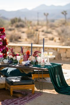 cascading table runner - photo by Shane and Lauren Photography http://ruffledblog.com/spanish-bohemian-wedding-inspiration-plus-emerald