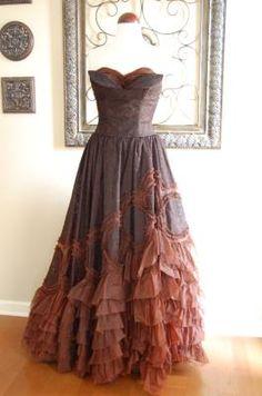 Vintage 50's/60's Chocolate Truffle Ballgown - Gorgeous!!