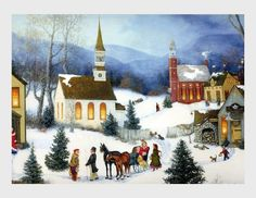 Vintage Christmas Greeting Card Gold Accents Christmas Trees Snowy ...