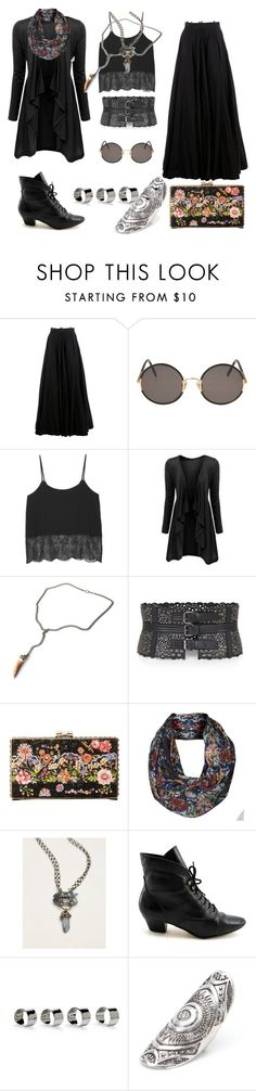 """""""Forest Witch"""" by fawnanddoll ❤ liked on Polyvore featuring Yang Li, Sunday Somewhere, Monki, Doublju, BCBGMAXAZRIA, Mary Frances Accessories, Free People, Maison Margiela and With Love From CA"""