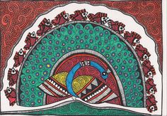 Madhubani Painting Indian Artwork, Indian Folk Art, Indian Paintings, Art Paintings, Madhubani Art, Madhubani Painting, Naive, Mysore Painting, Indian Crafts