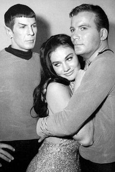 Leonard Nimoy, Maggie Thrett and William Shatner.