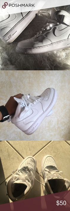Nike Air Force ones - worn once. These are in great condition, I only wore them once. They are a youth size 7 (men's 7, women 8.5) Nike Shoes Sneakers