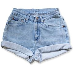 Vintage 90s Lee Light/Medium Blue Wash High Waisted Rise Cut Offs... (125 BRL) ❤ liked on Polyvore featuring shorts, bottoms, pants, short, short shorts, denim short shorts, cuffed denim shorts, vintage high waisted shorts and high rise jean shorts