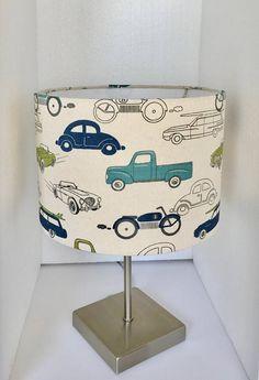 Vintage Retro Rides Felix Blue Lamp Shade-Transportation