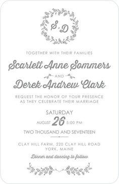 Genteel Wreath - Letterpress Wedding Invitations - Wiley Valentine - White : Front