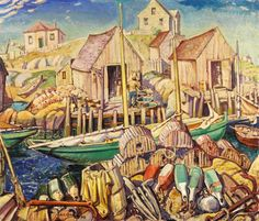 Nova Scotia Fishing Village jigsaw puzzle in Piece of Art puzzles on TheJigsawPuzzles.com