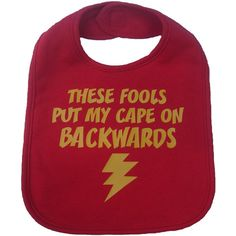 These fools put my cape on backwards baby bib infant toddler funny superhero flash shower gift - navy blue and yellow from on Etsy. Funny Baby Bibs, Funny Baby Shower Gifts, Baby Boy Gifts, Funny Babies, Shower Baby, Toddler Bibs, Infant Toddler, Handmade Baby Items, Geek Baby