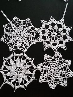 This set of snowflake ornaments is a great addition to your Christmas tree or home decoration. It has a very beautiful pattern on the snowflake. Their are 8 different patterns on the snowflake.These snowflakes can also be used foe unique decorations from different occasions. Its wonderful Christmas handmade gift. Size: - 5 inches( about 13 cm) They are very light stiffened. MY GUARANTEE If for any reason you are not happy with my product then,please return it to me for a full refund…