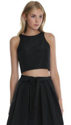Black silk faille cropped top