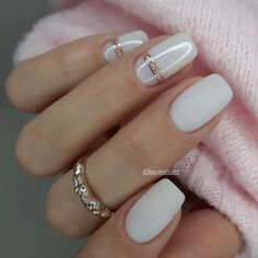 "One of the most important trends in the world of manicure in 2020 become ""milk nails"" or «Milky Nails Rhinestone Nails, Bling Nails, Square Nail Designs, Nail Art Designs, Nails Design, Acrylic Nail Designs, Trendy Nails, Cute Nails, Manicures"