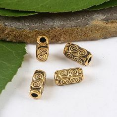 30pcs dark gold-tone swirl tube spacer beads h2066
